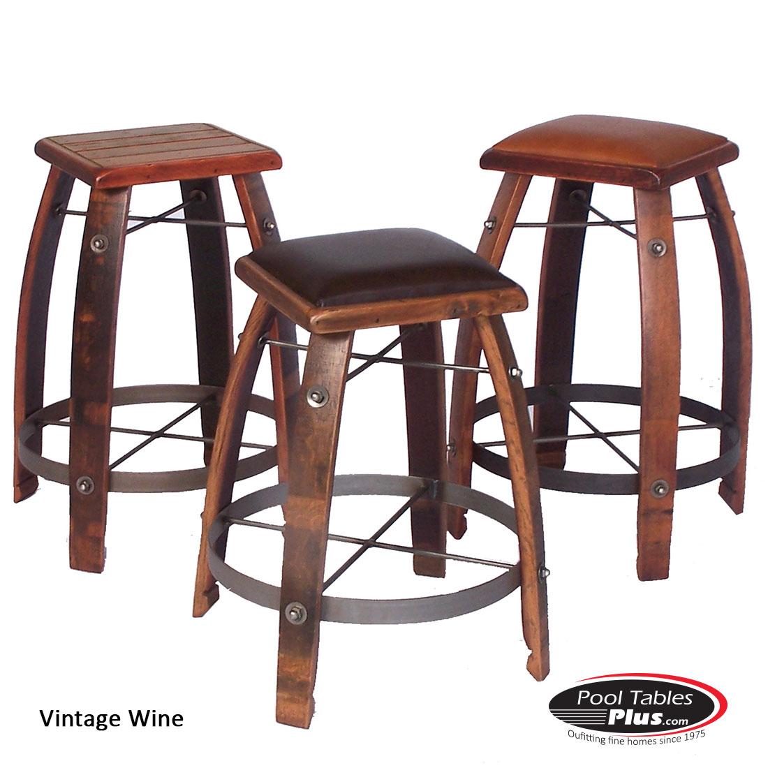 Vintage Wine Square Barstool