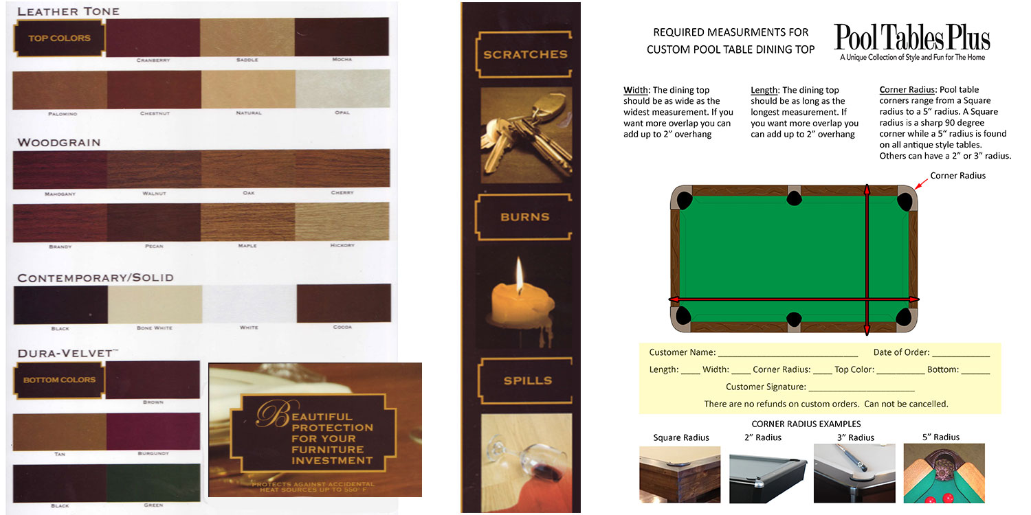 Pool Table Dining Top - Pool table width