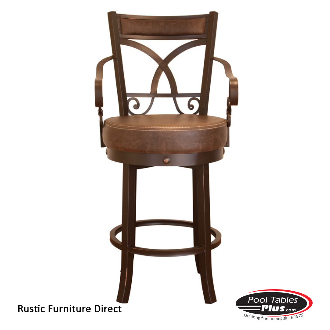 Rustic Wood Bar Stools ~ Rustic swivel d barstool