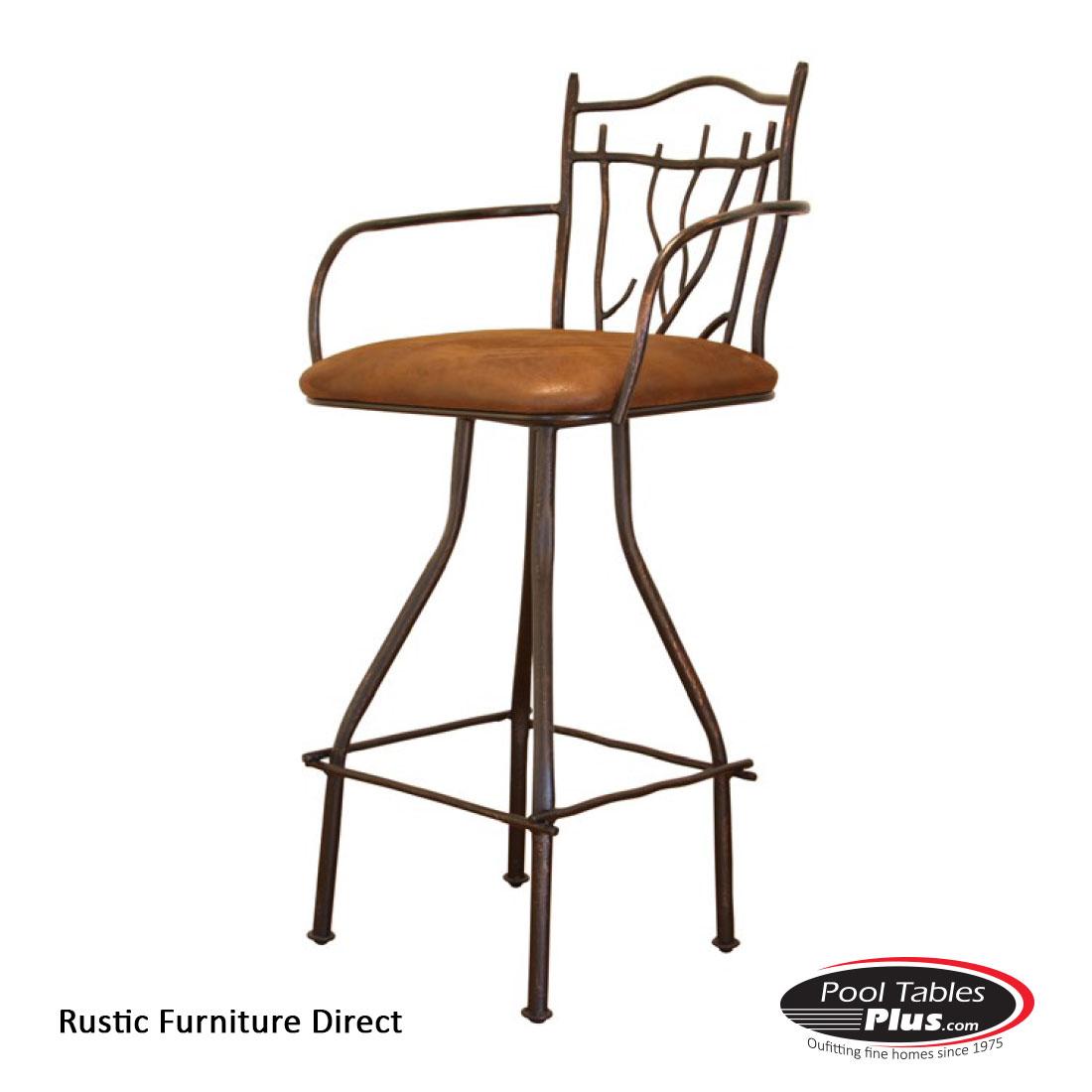 Rustic Wooden Bar Stools ~ Rustic swivel r arm barstool
