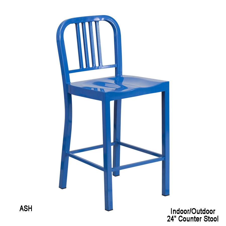 Fine 24 High Blue Metal Indoor Outdoor Counter Height Stool Ch Machost Co Dining Chair Design Ideas Machostcouk