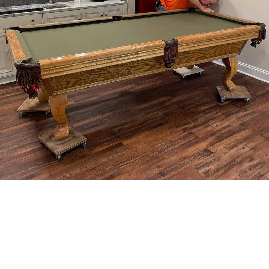 8′ Solid Oak Pool Table
